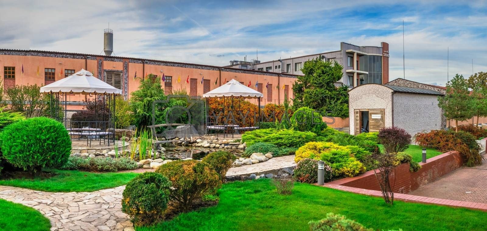 Shabo, Ukraine 09.29.2019. Small garden in the Shabo winery, Odessa region, Ukraine