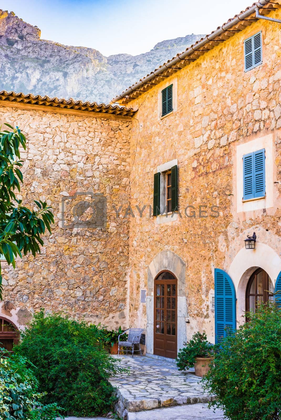 View of mediterranean house garden terrace patio