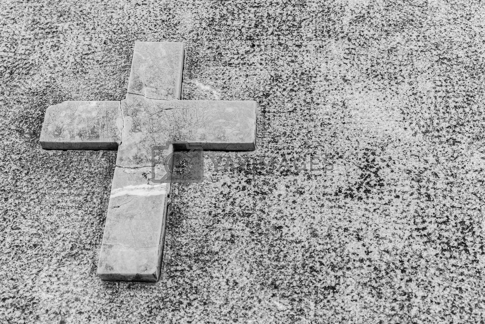 Gray tombstone with stone cross, dead grief background with copy space