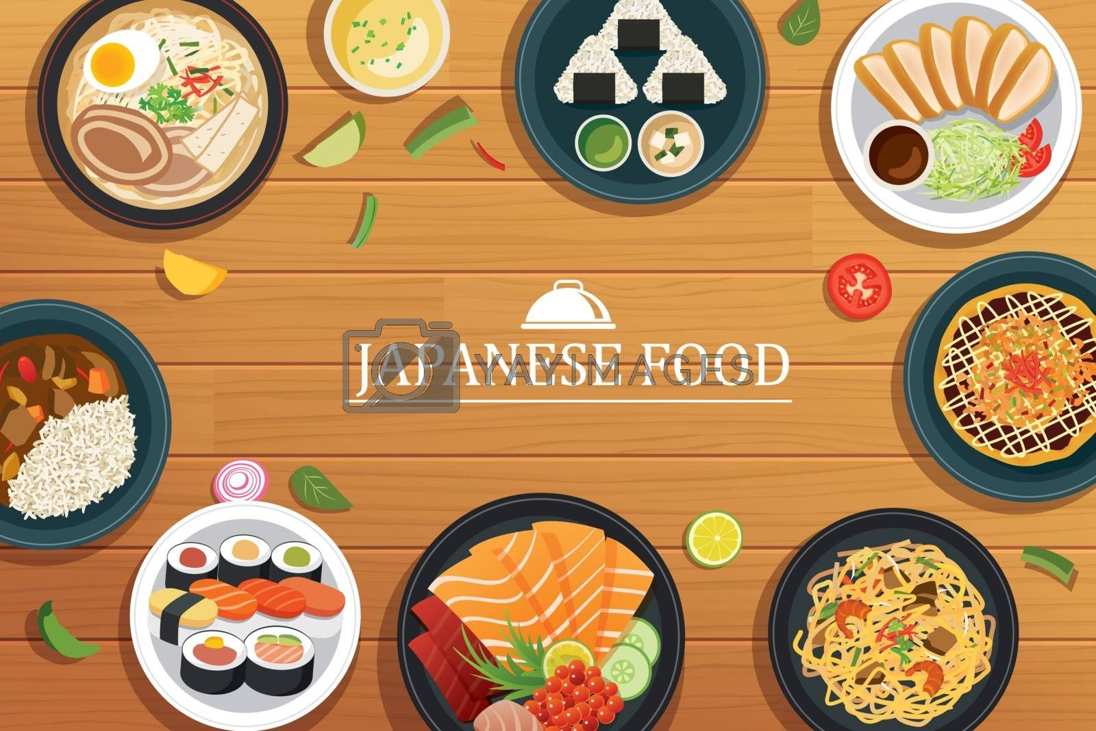 japanese food on a wooden background.Vector japanese food top vi by kaisorn