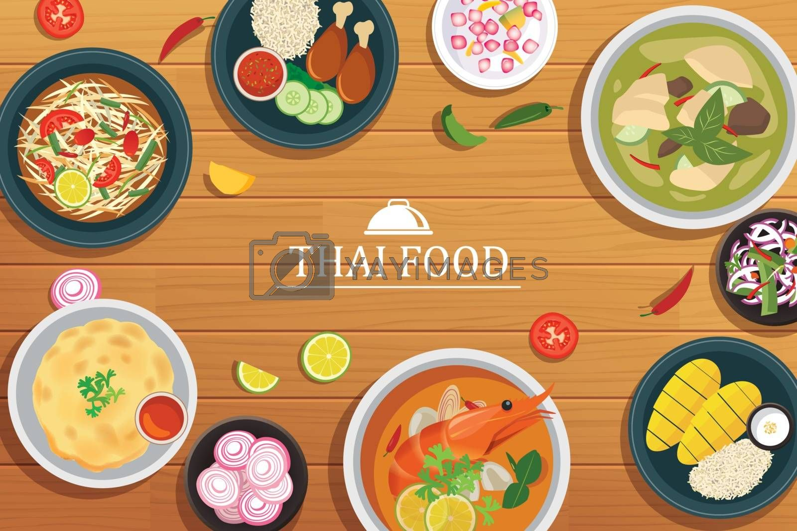 thai food on a wooden background.Vector thai food top view by kaisorn