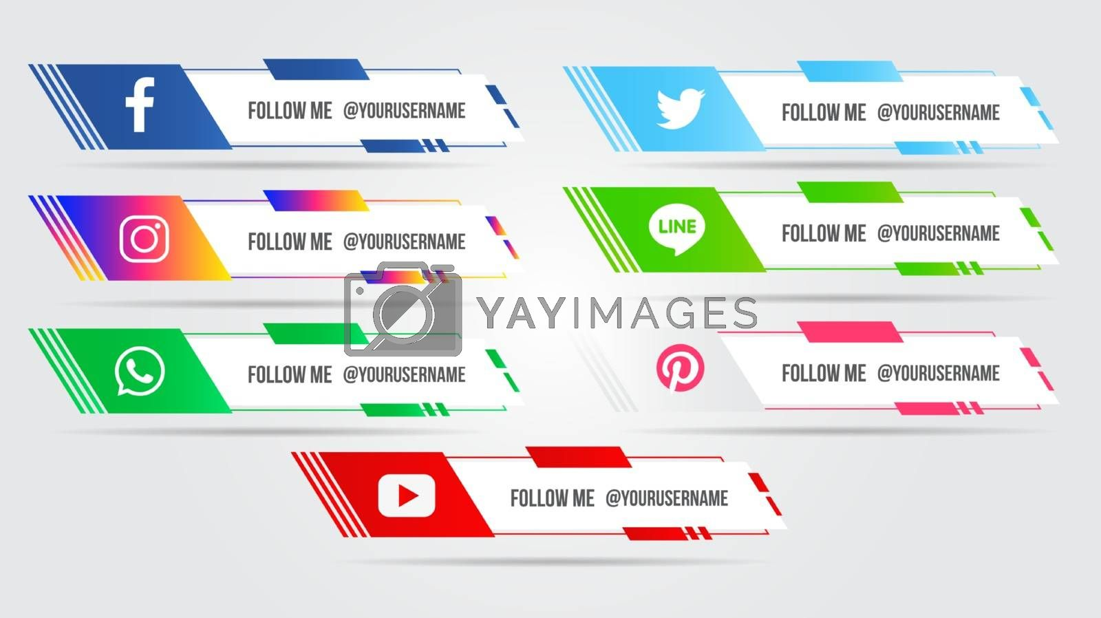 Social Media set lower third or bar for edit your text modern design collection vector.
