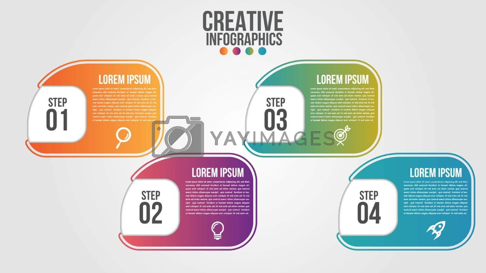 Infographic modern timeline design vector template for business with 4 steps or options illustrate a strategy. Can be used for workflow layout, diagram, annual report, web design, team work.