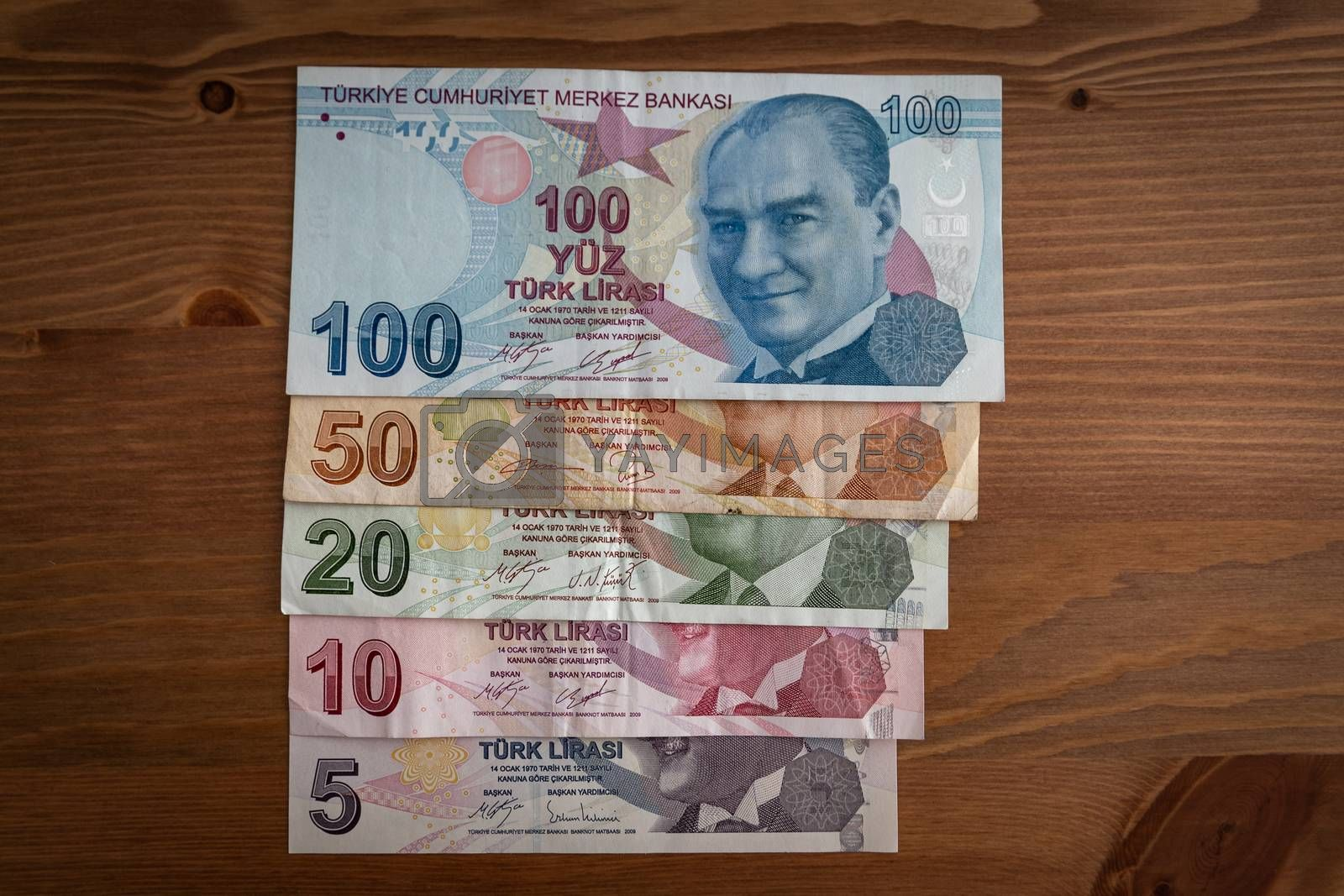 Bunch of Various Turkish Currency Lira Banknotes