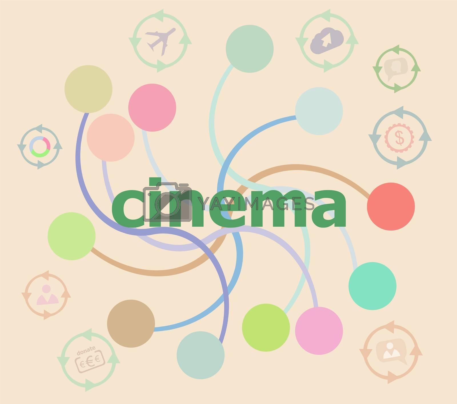 cinema word on digital screen. information concept . Futuristic graphic user interface