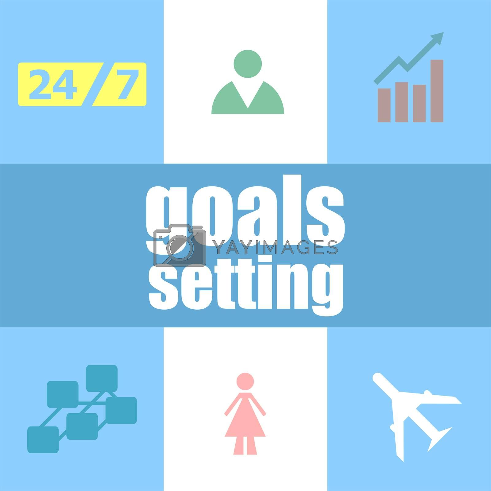 Text Goals setting. Business concept . Can be used for workflow layout, diagram, business step options, banner . Infographic dashboard