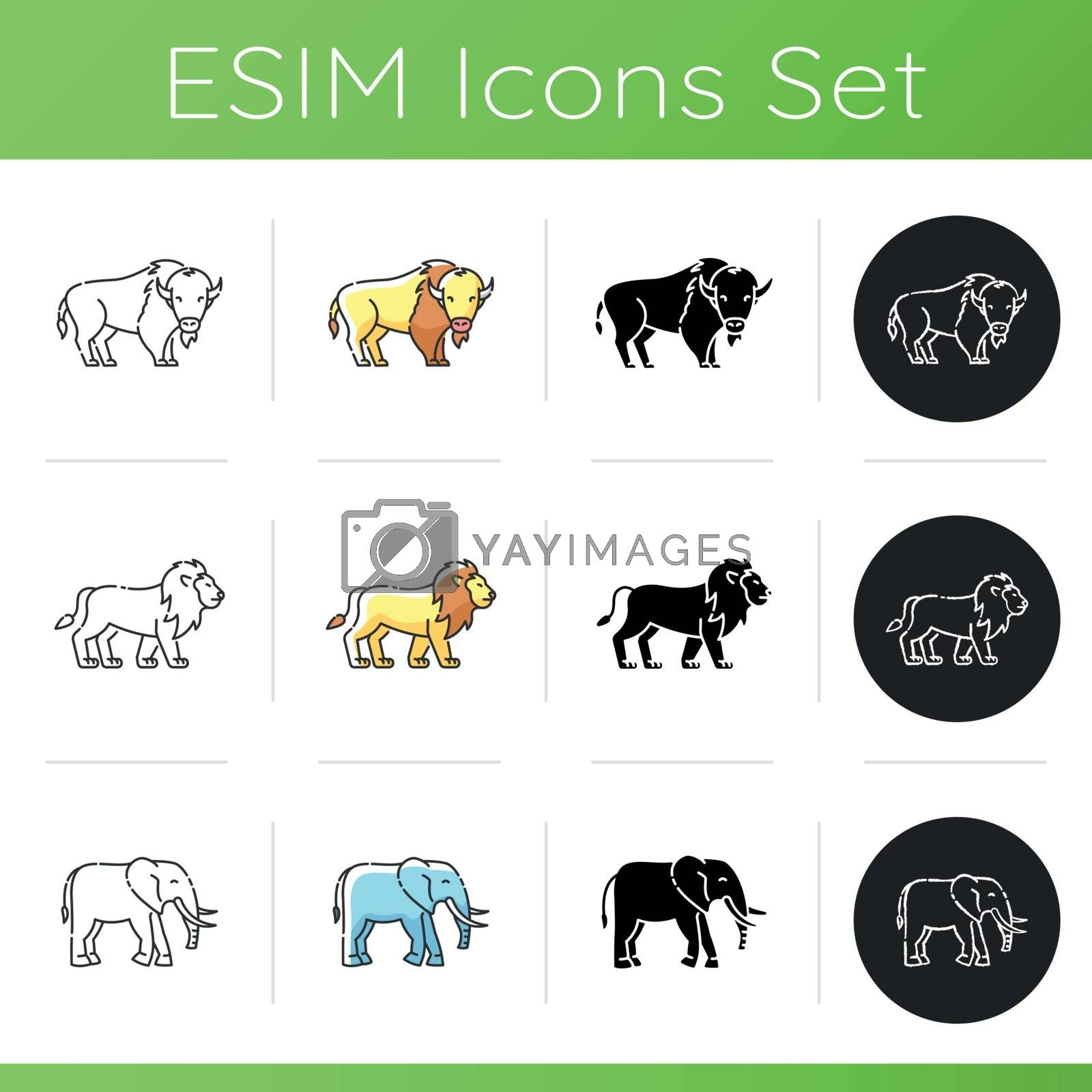 Domestic and wild animals icons set. Linear, black and RGB color styles. American bison, african elephant and lion. African and north american wildlife. Isolated vector illustrations