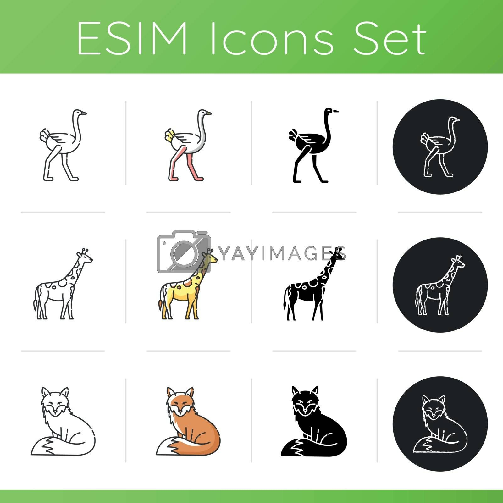 Common and exotic animals icons set. Linear, black and RGB color styles. African giraffe, ostrich and adorable fox. Tropical zoo inhabitants amd forest wildlife. Isolated vector illustrations