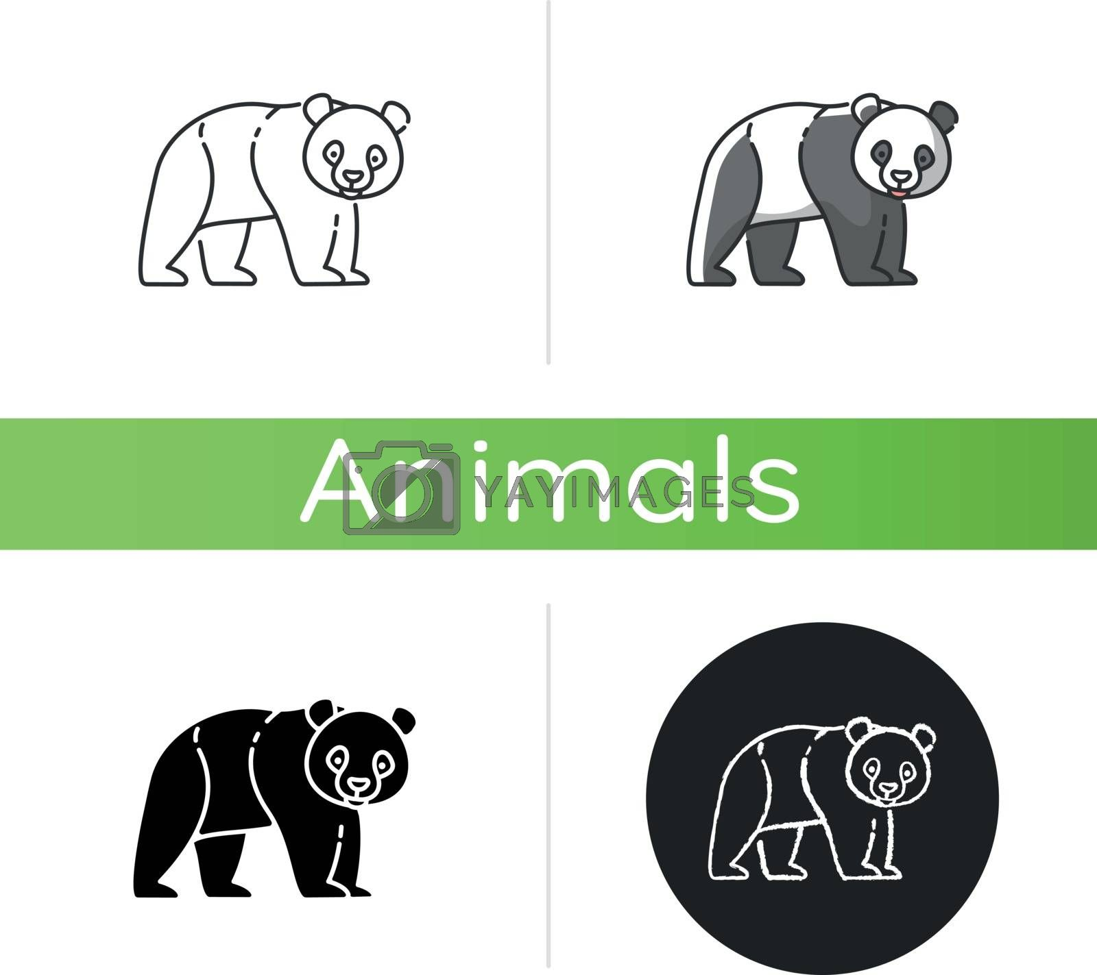 Panda bear icon. Linear black and RGB color styles. Native chinese fauna, common asian wildlife. Zoo mascot, oriental forest inhabitant. Black and white bear isolated isolated vector illustrations