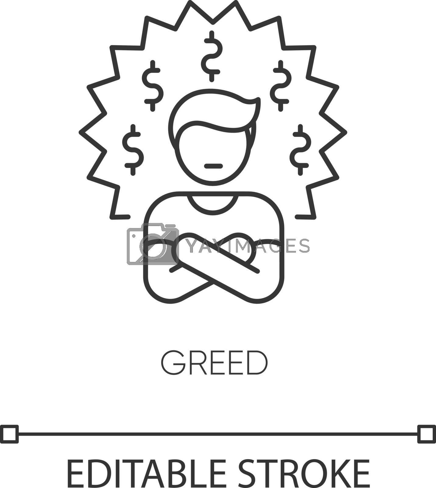Greed pixel perfect linear icon. Bad personal trait, negative quality, thin line customizable illustration. Contour symbol. Greedy person vector isolated outline drawing. Editable stroke