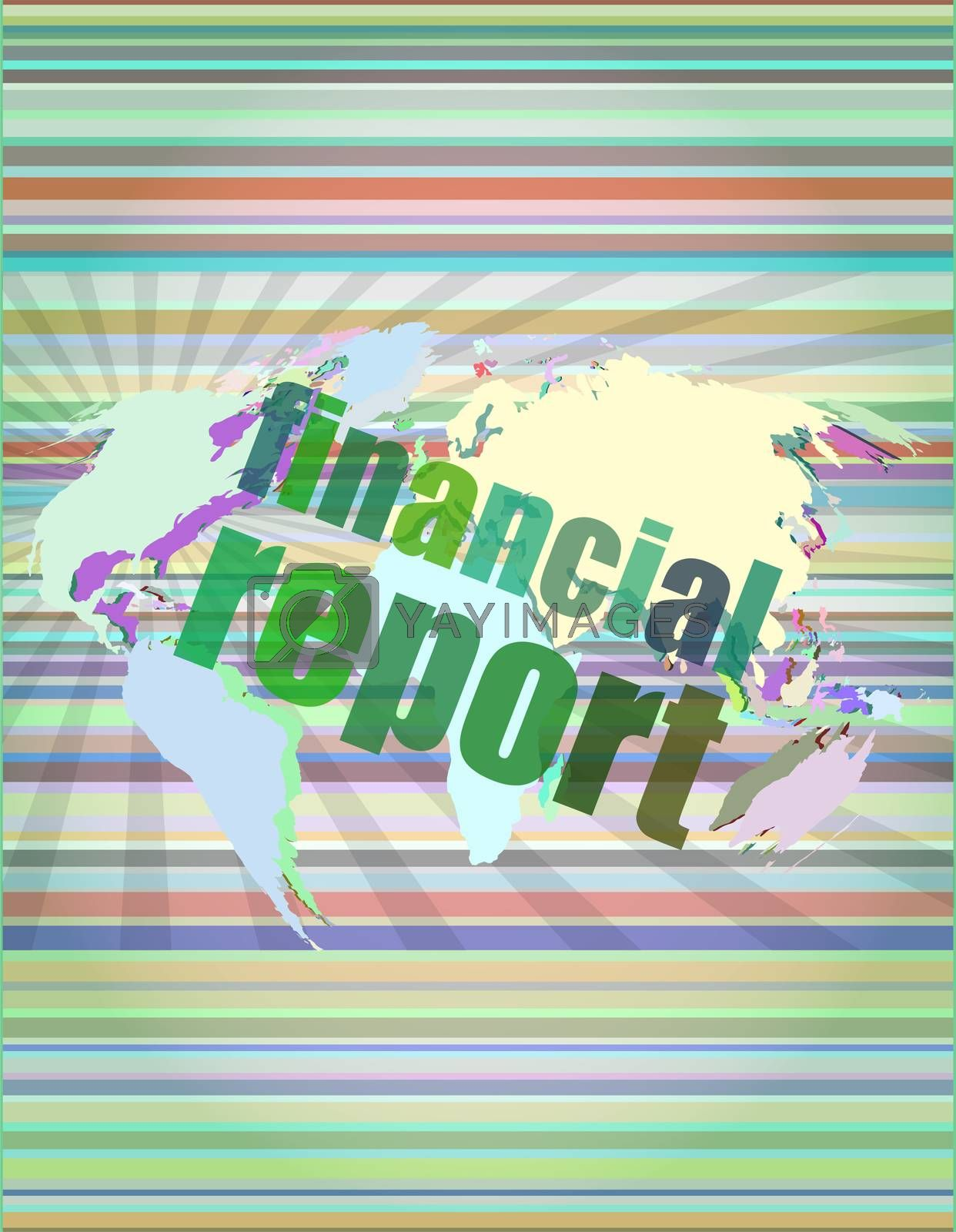 financial report word on digital screen, mission control interface hi technology