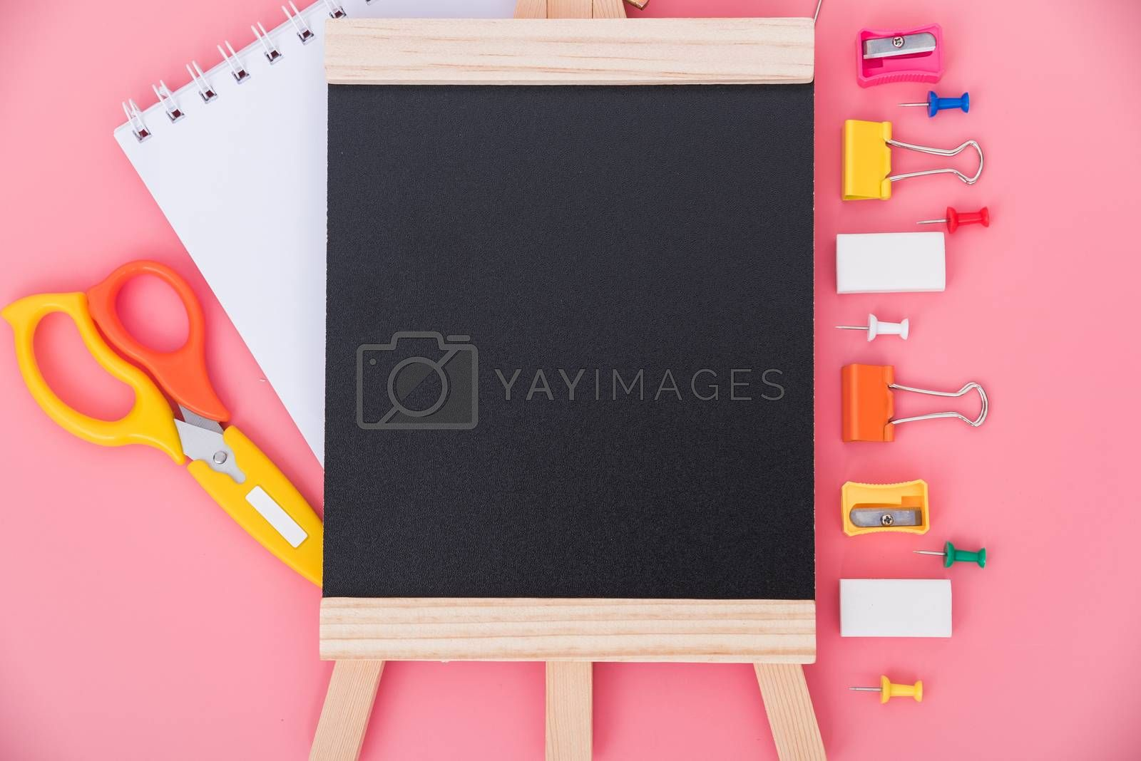 Top view flat lay of stationery accessories tools set and blackboard for education kid on pink background, Back to school concept and have copy space for use