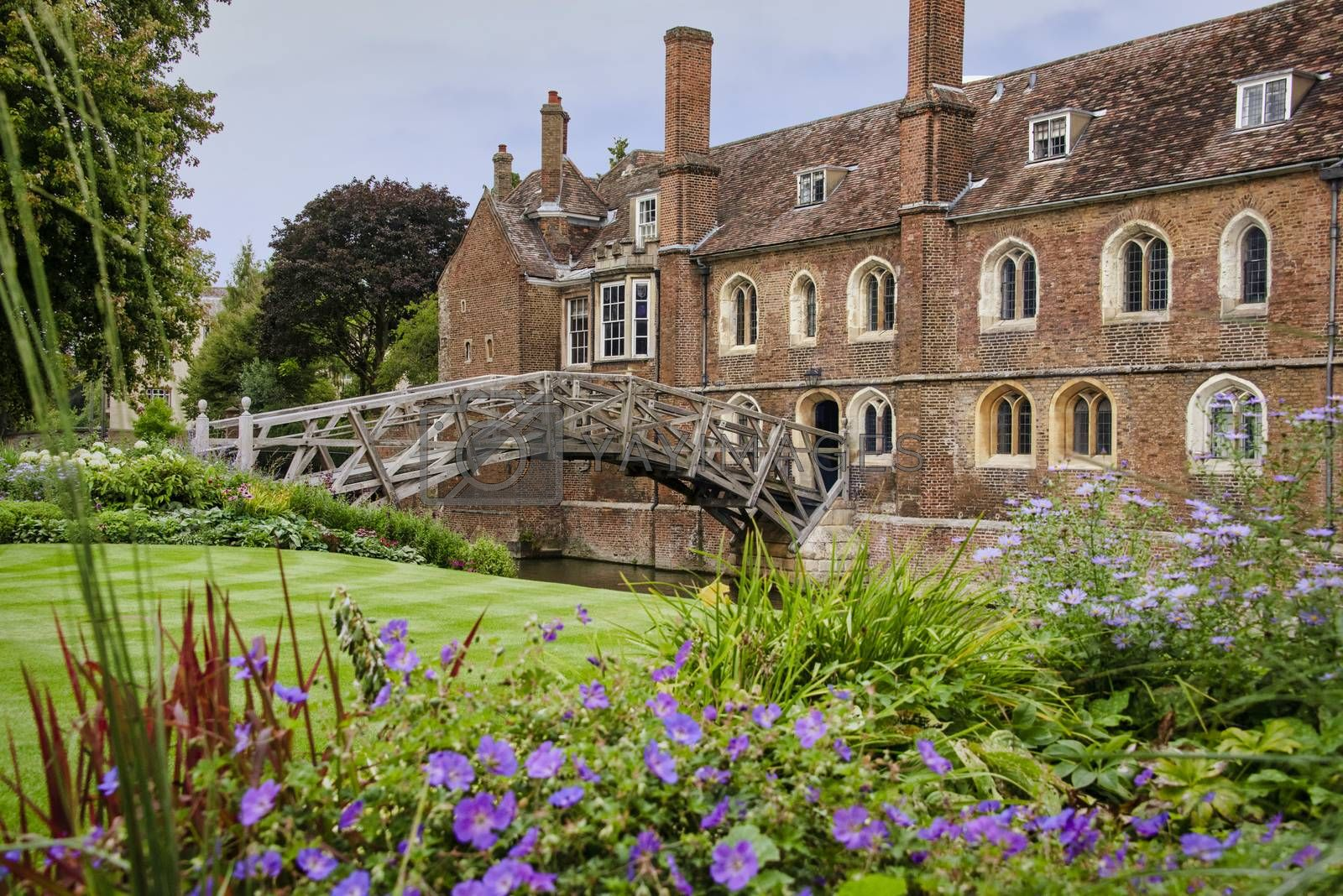 UK, Cambridge - August 2018: The Mathematical Bridge, in the grounds of Queens College