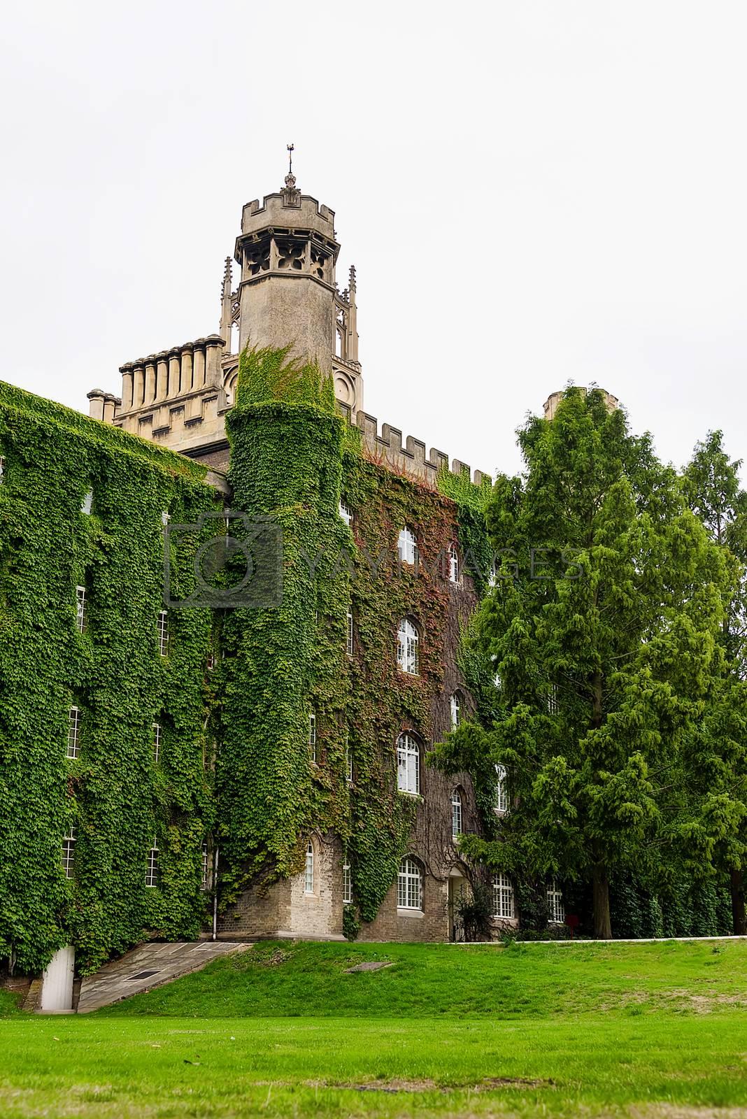 UK, Cambridge - August 2018: St John's College, New court tower