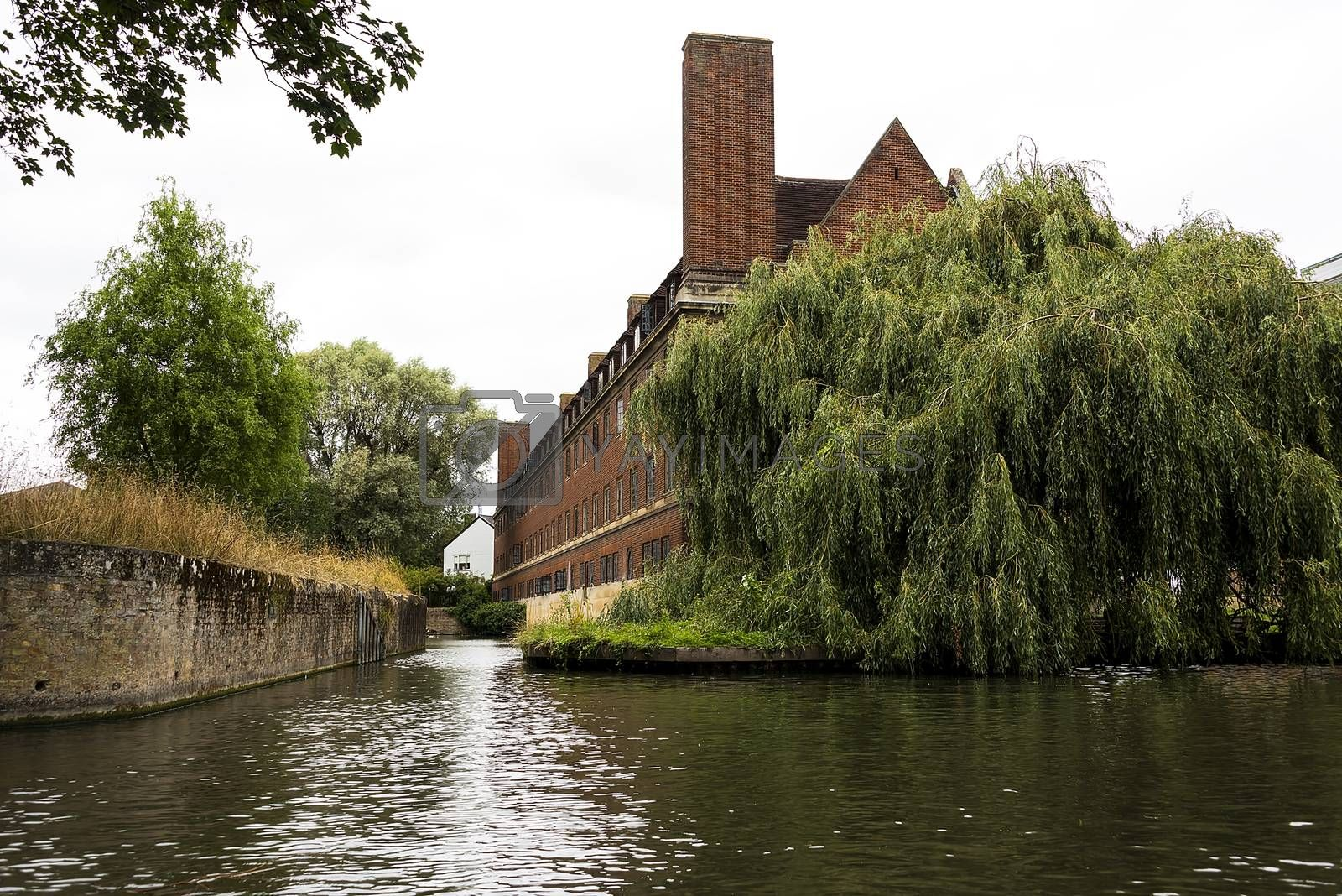 UK, Cambridge - August 2018: Back of the Lutyens building, Magdalene College, from the River Cam