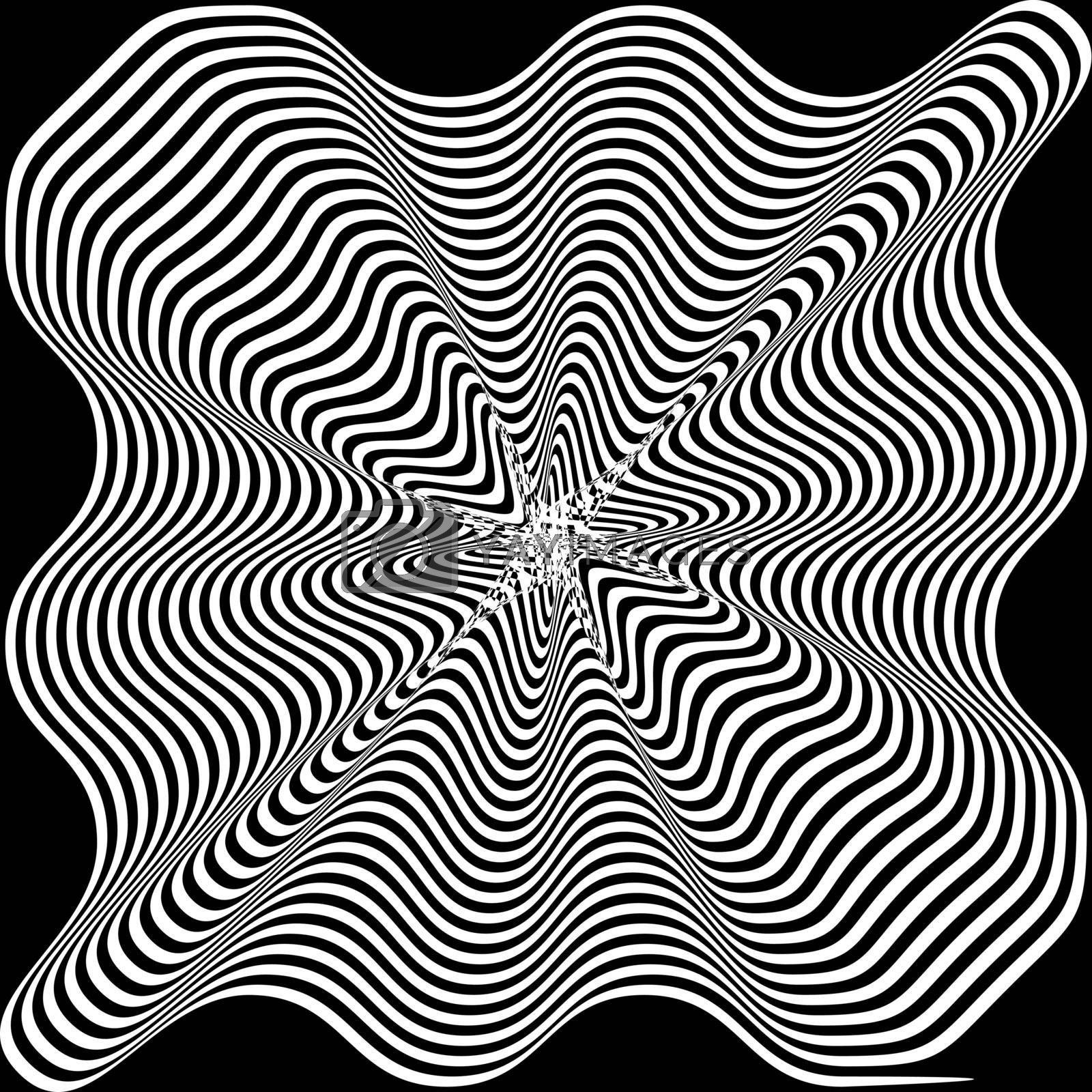 Black and White Hypnotic Background. Vector Illustration. by yganko