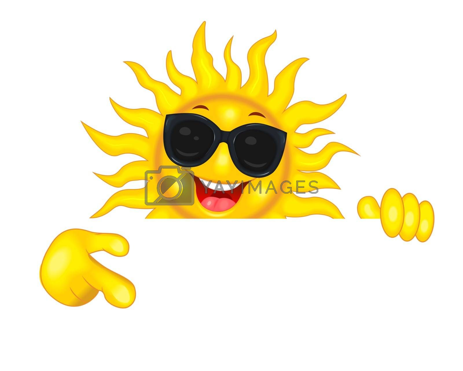Joyful sun in sunglasses points a hand by liolle