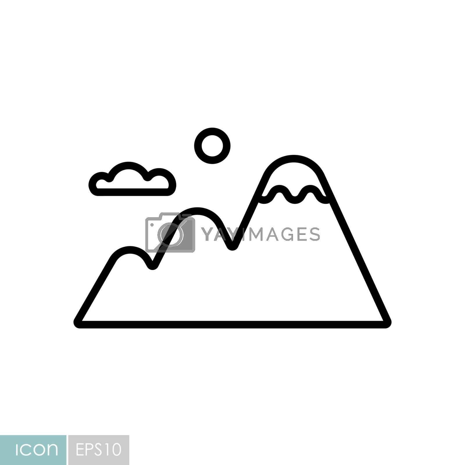 Mountains vector icon. Nature sign. Graph symbol for travel and tourism web site and apps design, logo, app, UI