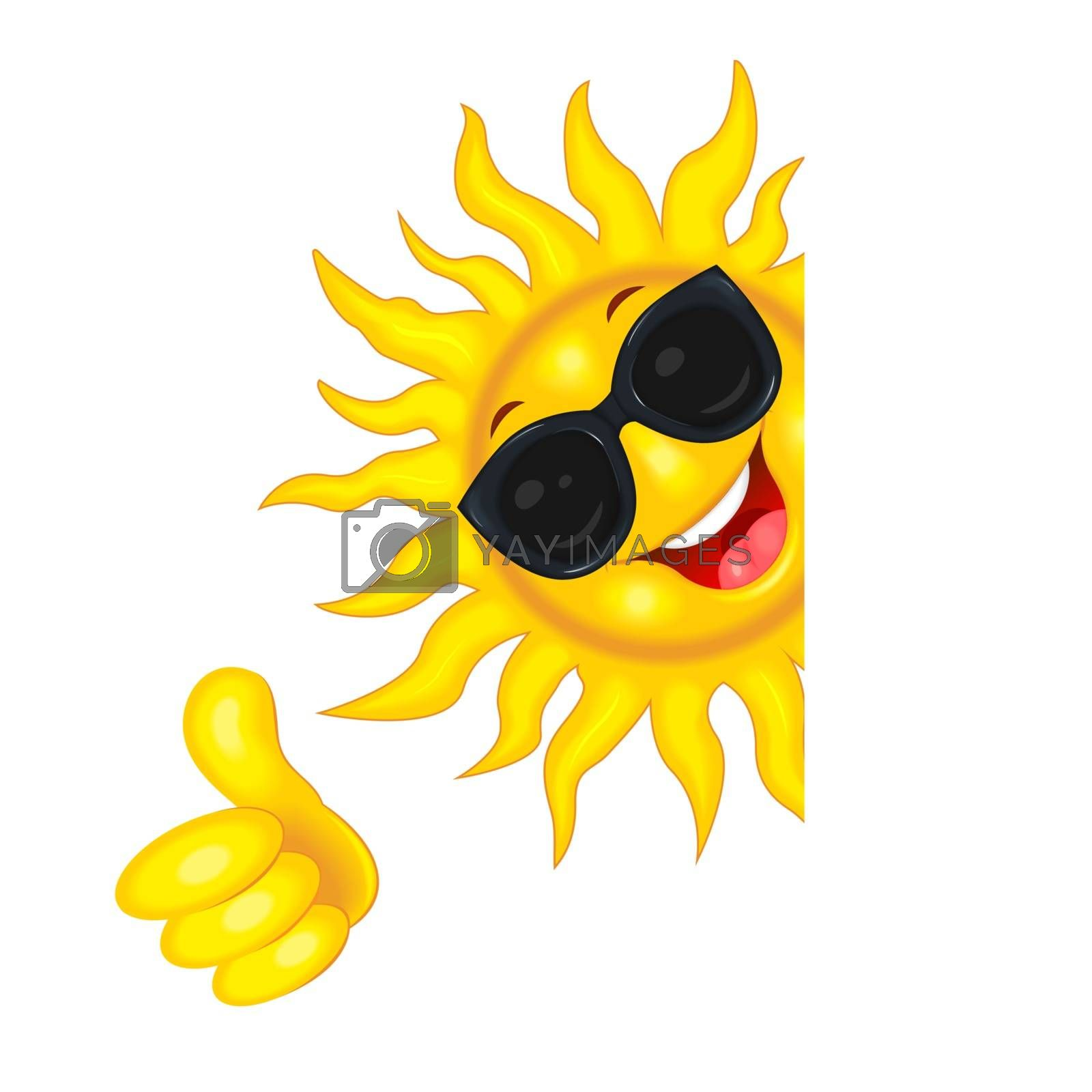 The sun in sunglasses wishes good luck by liolle