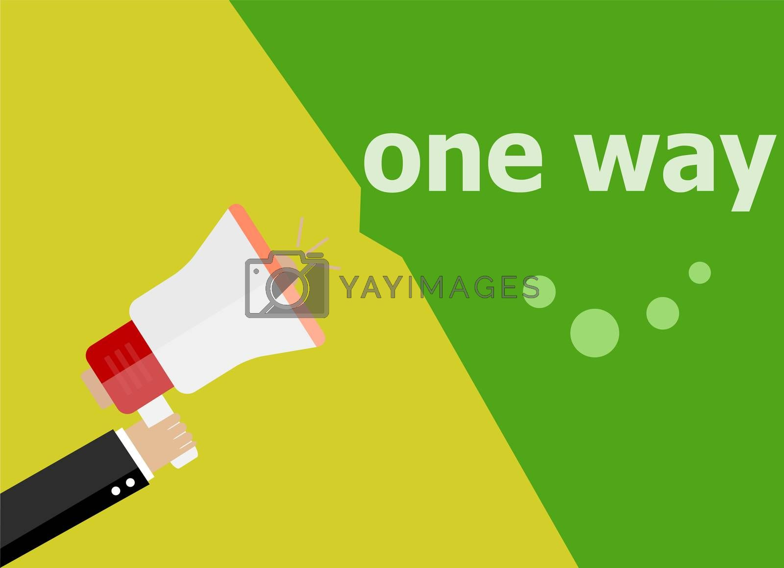 One way. Hand holding a megaphone. flat style