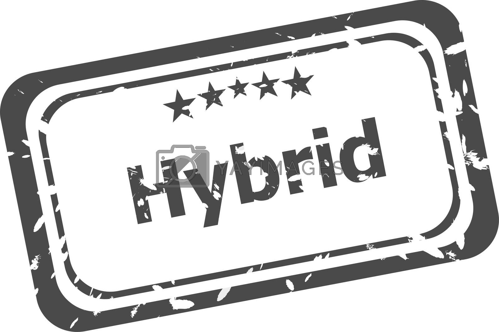 hybrid grunge rubber stamp isolated on white