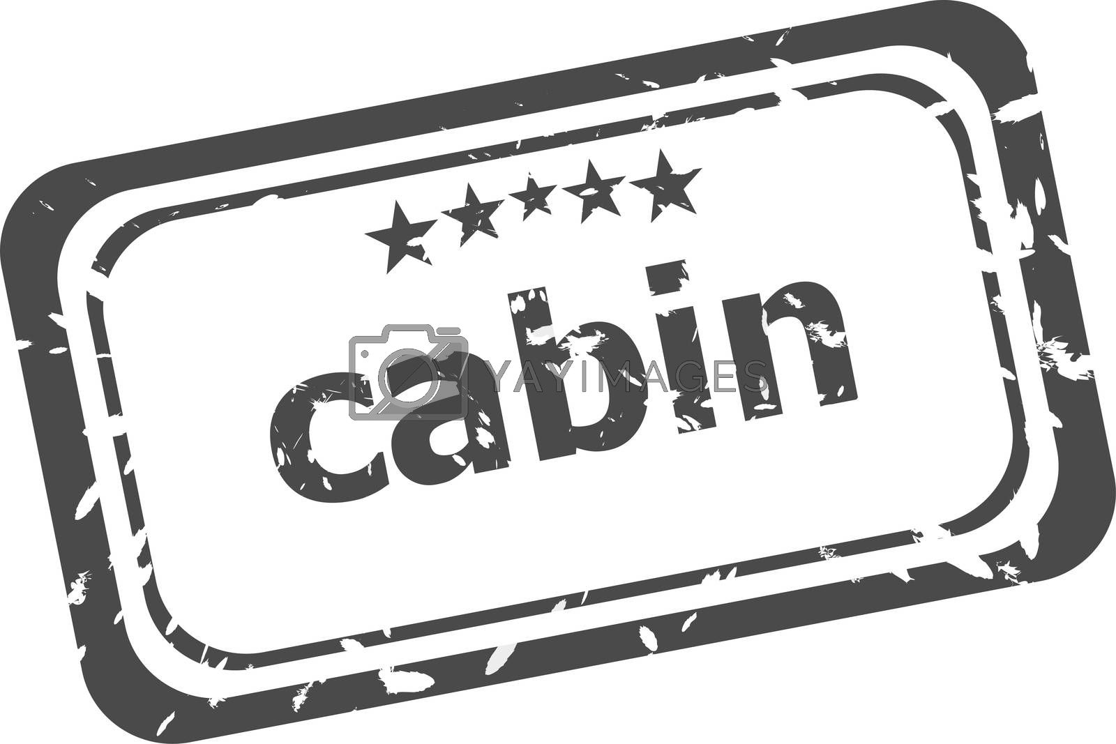 cabin on rubber stamp over a white background