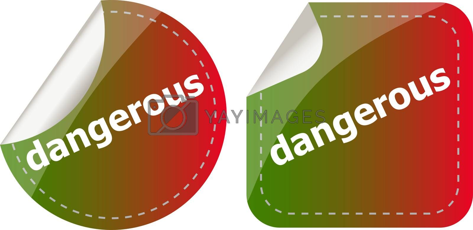 dangerous word on stickers web button set, label, icon