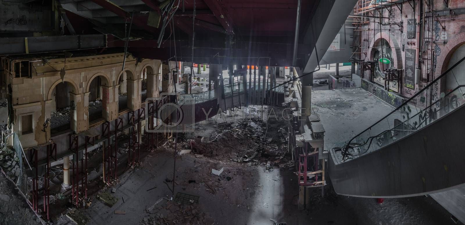 dilapidated department store in a city panorama view