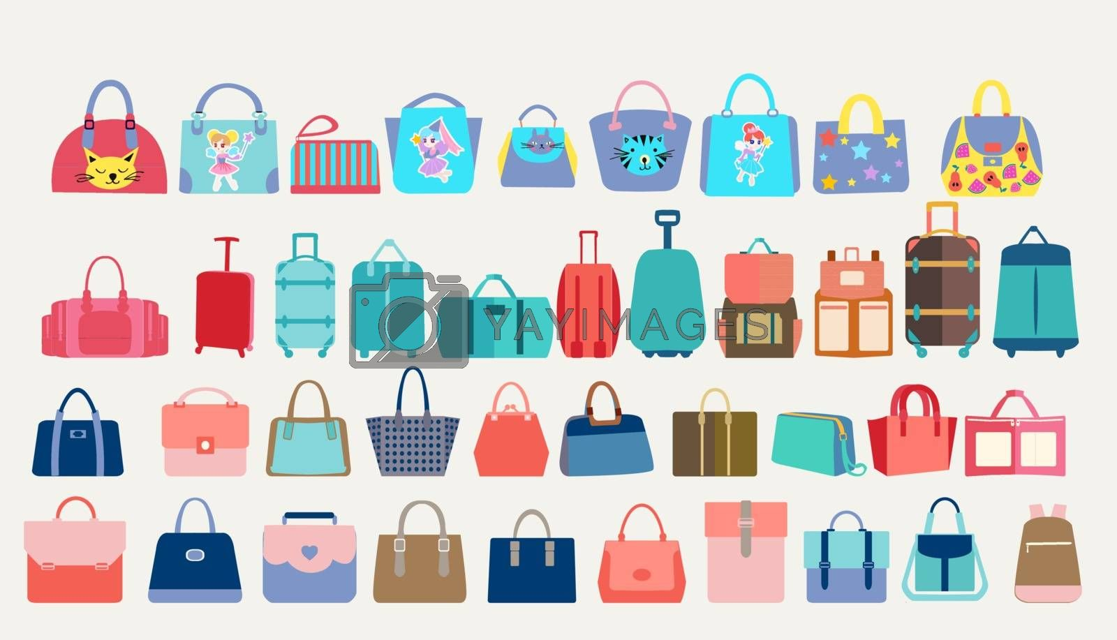 Big Set of colorful stylish cartoon women bags, travel bags and tourist luggage. Vector symbols of fashion modern leather accessories.