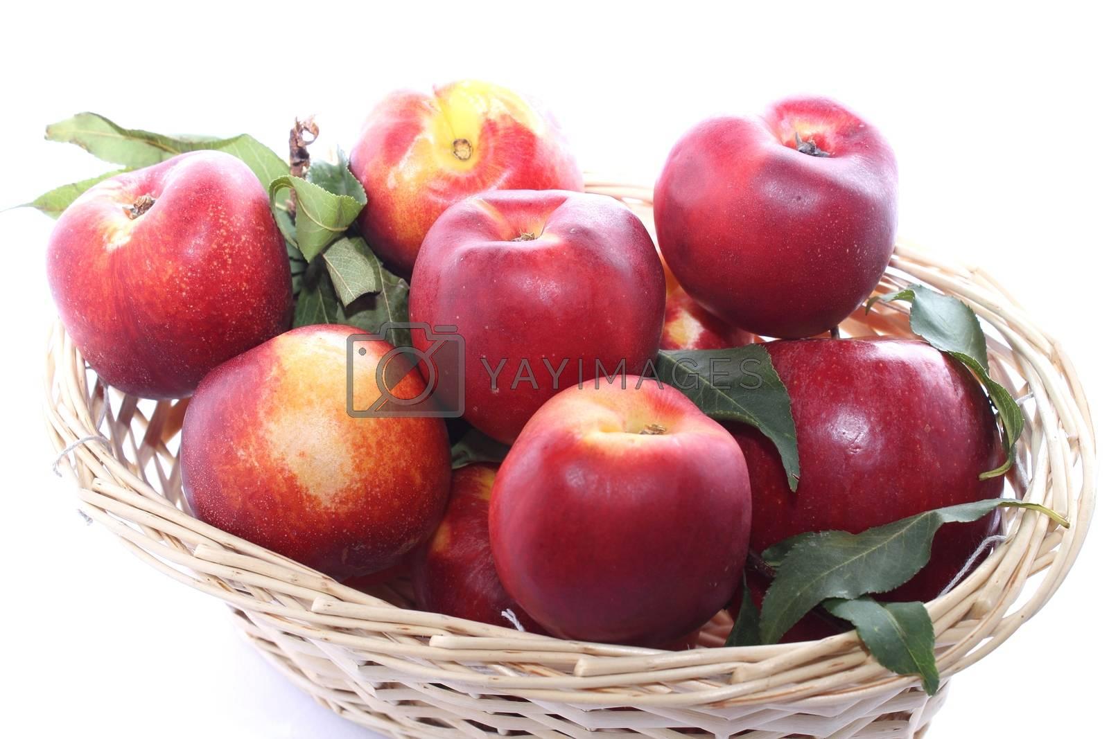 Peaches in wicker basket