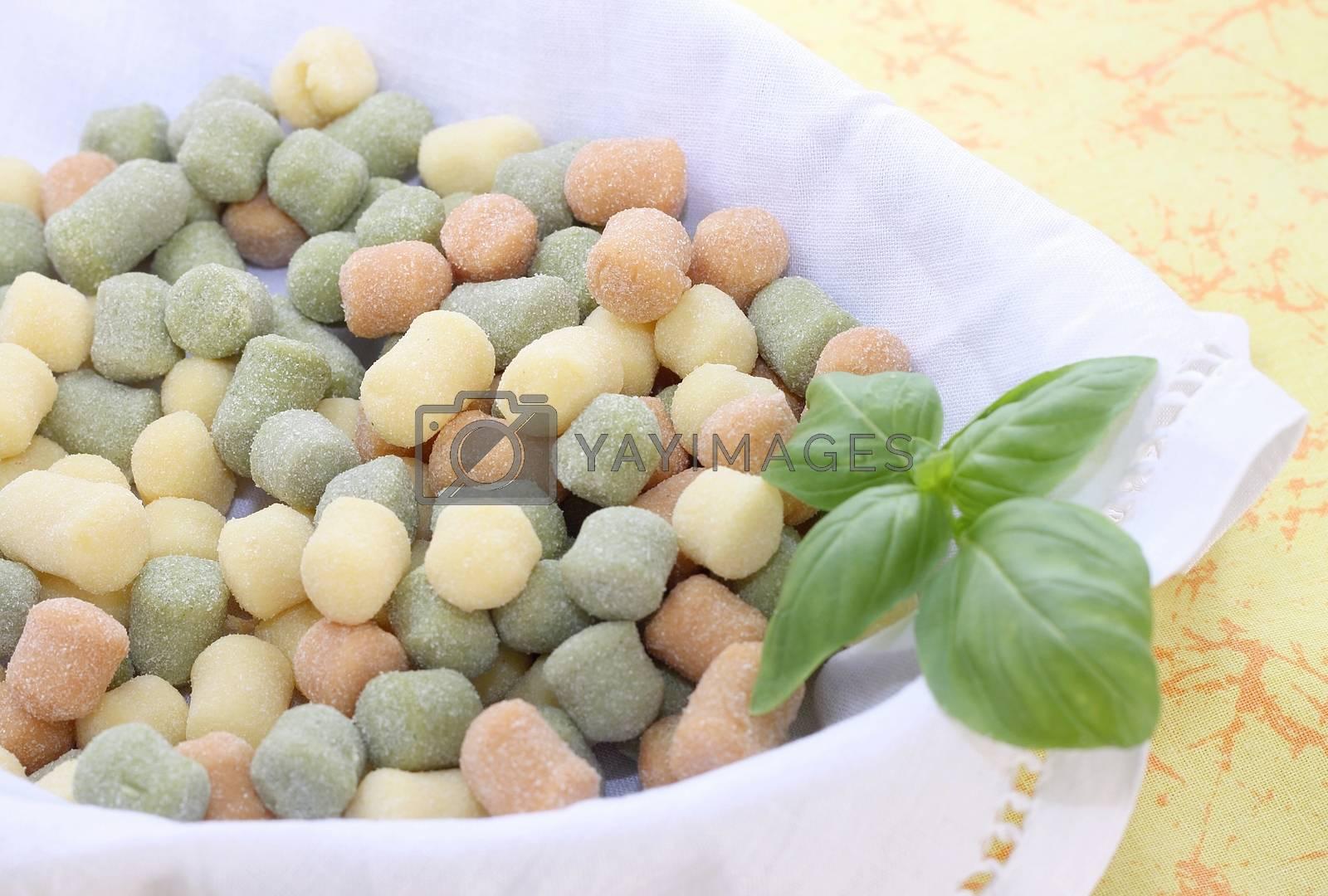 Italian gnocchi with basil leaves