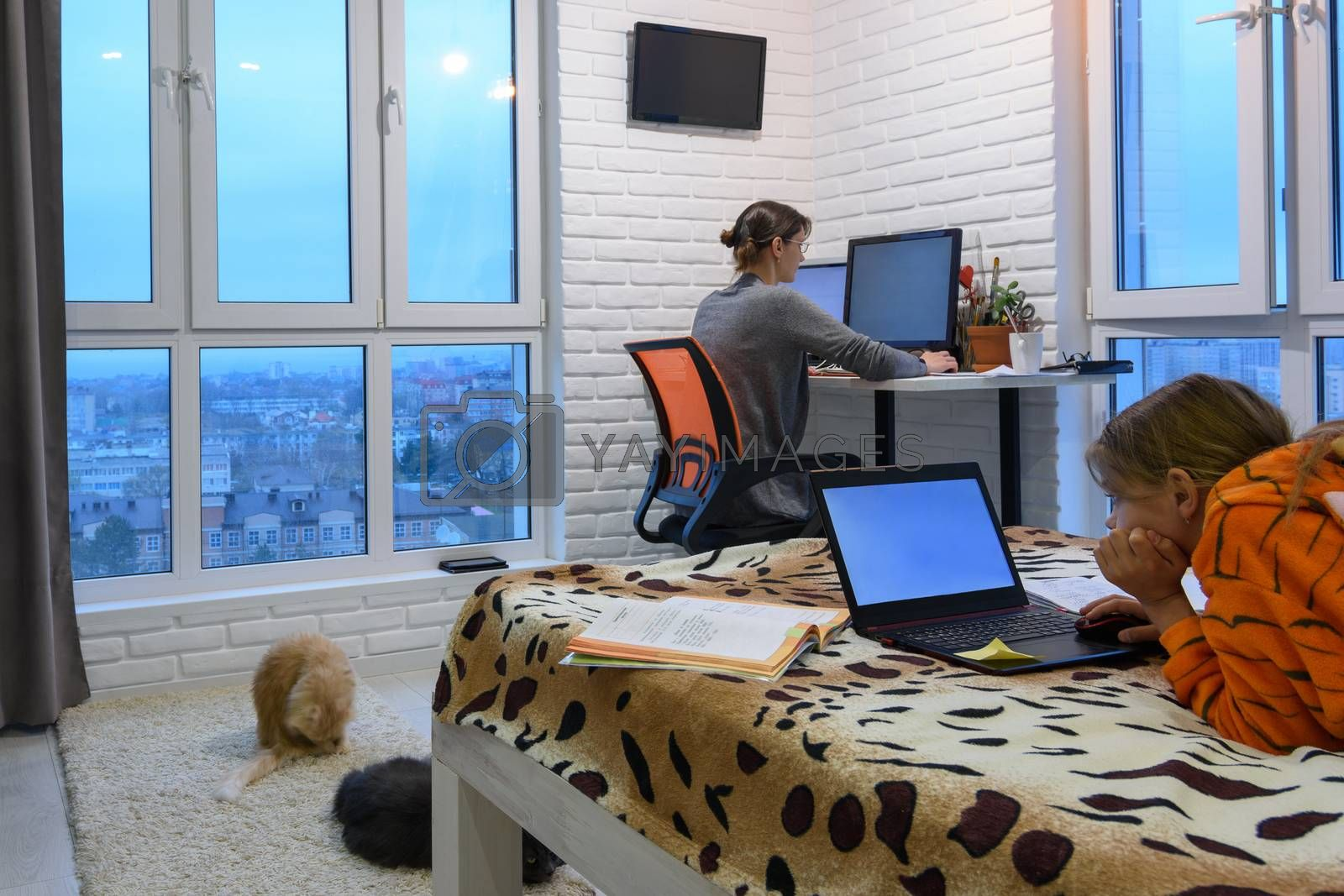 remote work and home-based training in a living room at computers