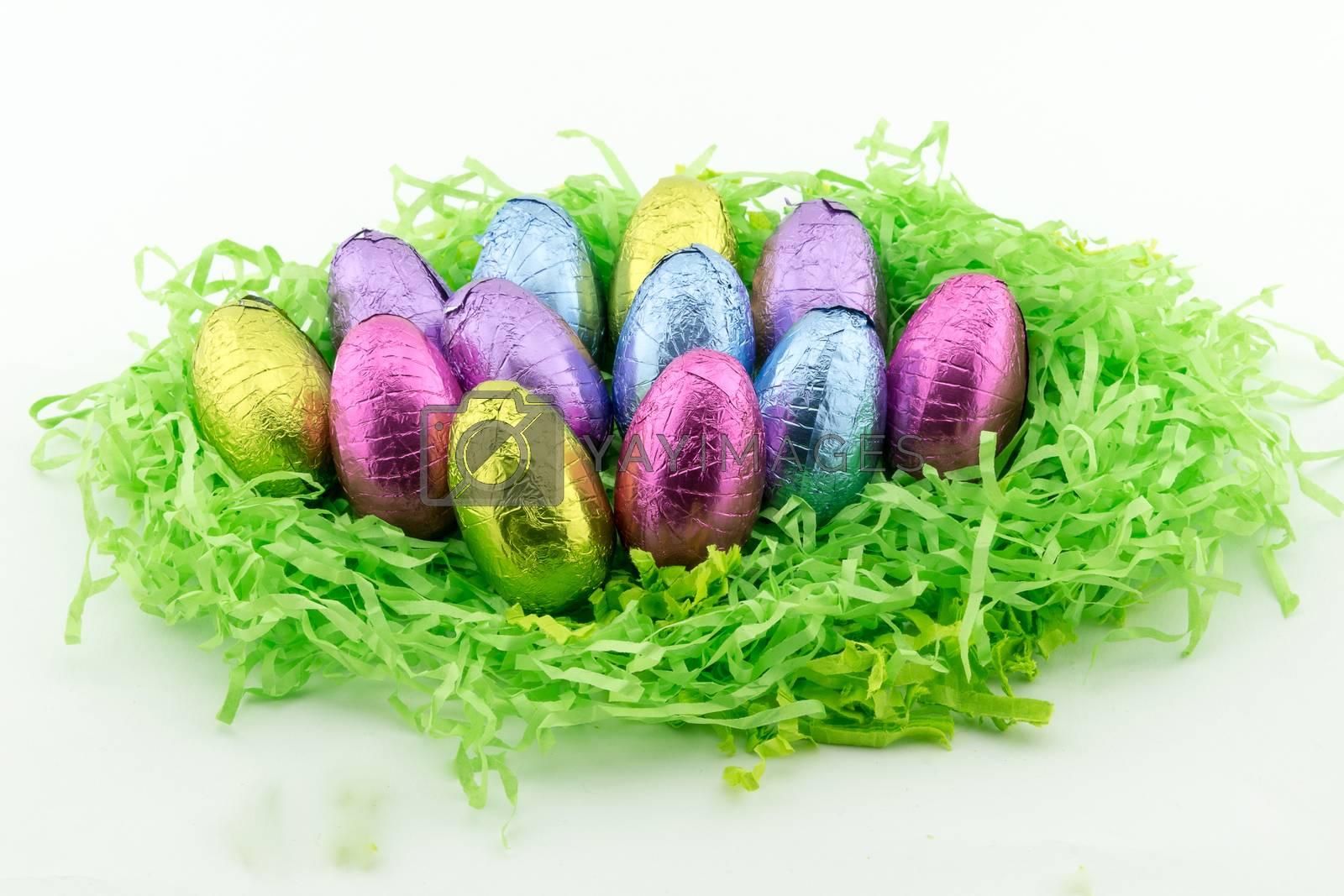 Easter Eggs on green paper