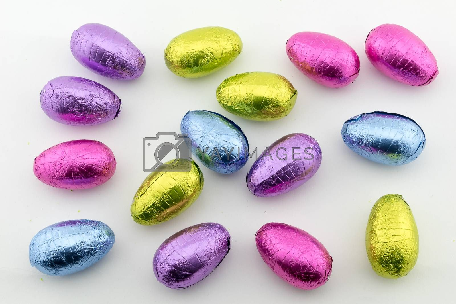 Multi-coloured foil covered chocolate Easter eggs