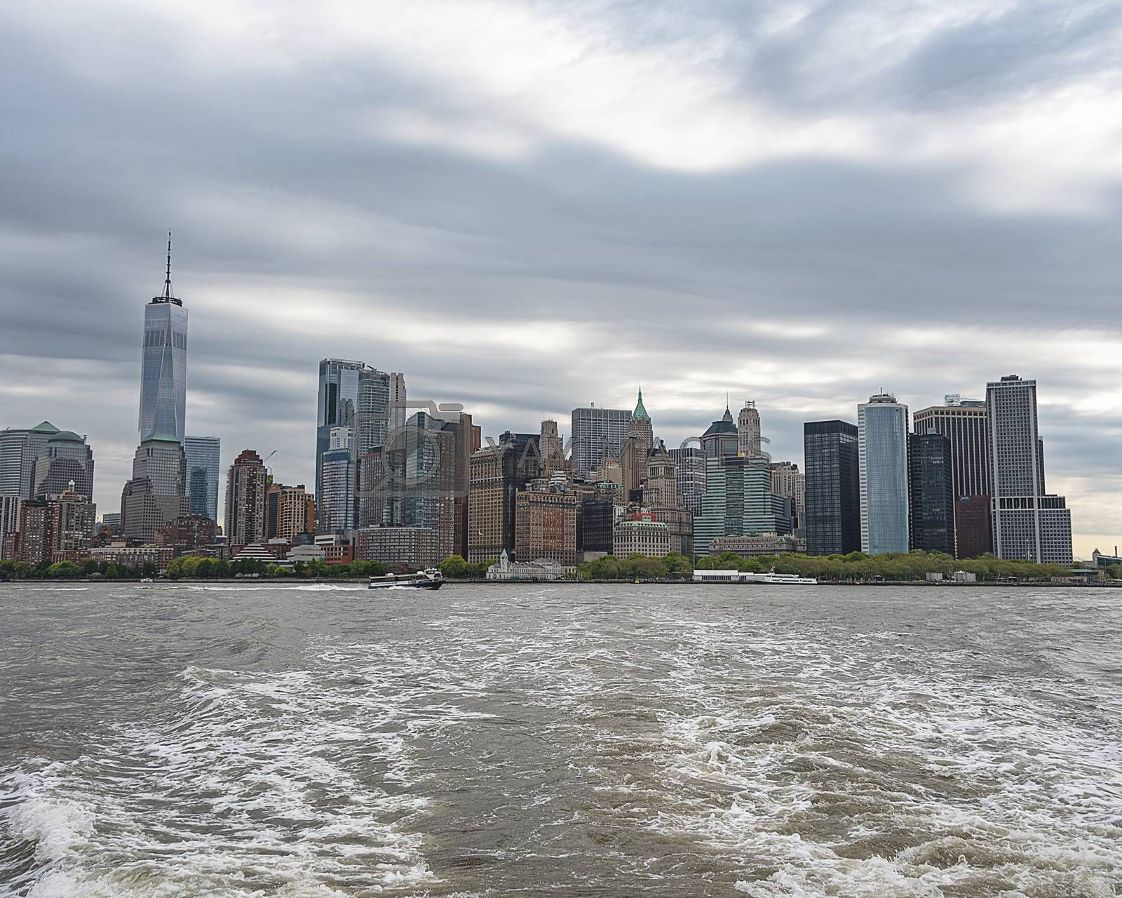 USA, New York - May 2019:  Leaving Manhattan, NYC by ferry