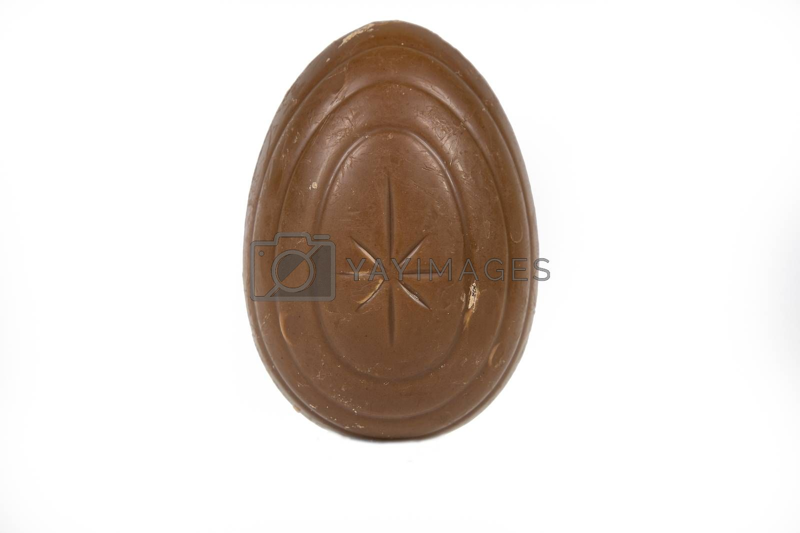Chocolate Easter egg on a white background