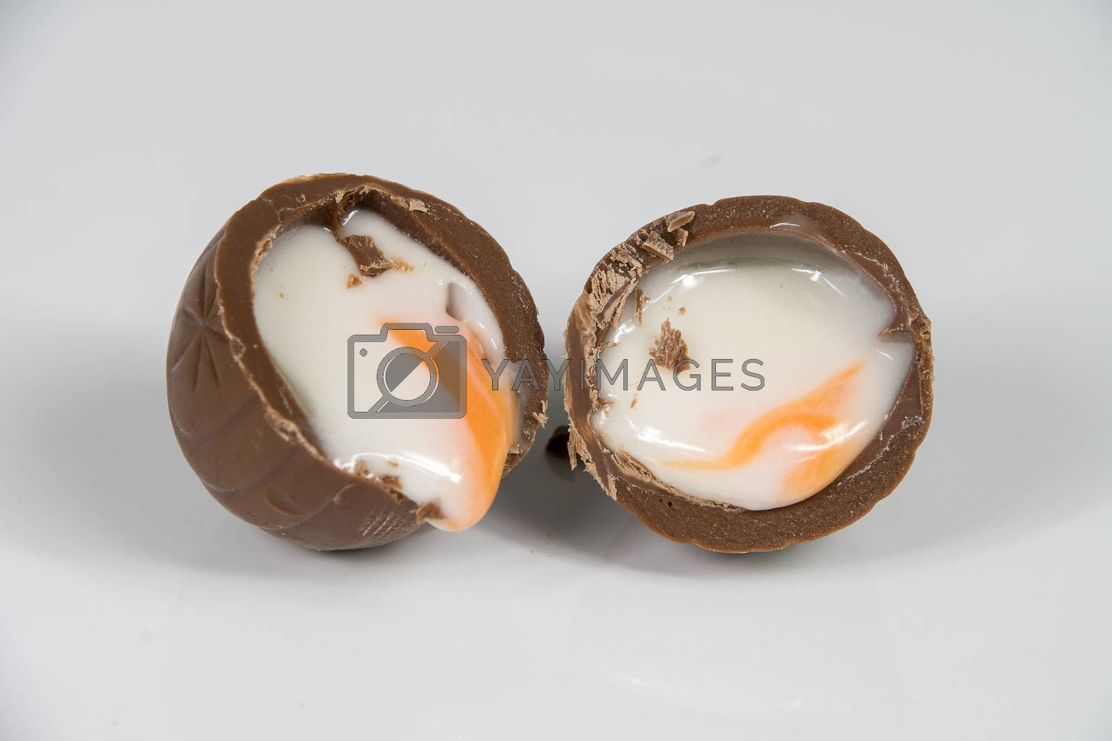 Chocolate Easter egg with white fondant