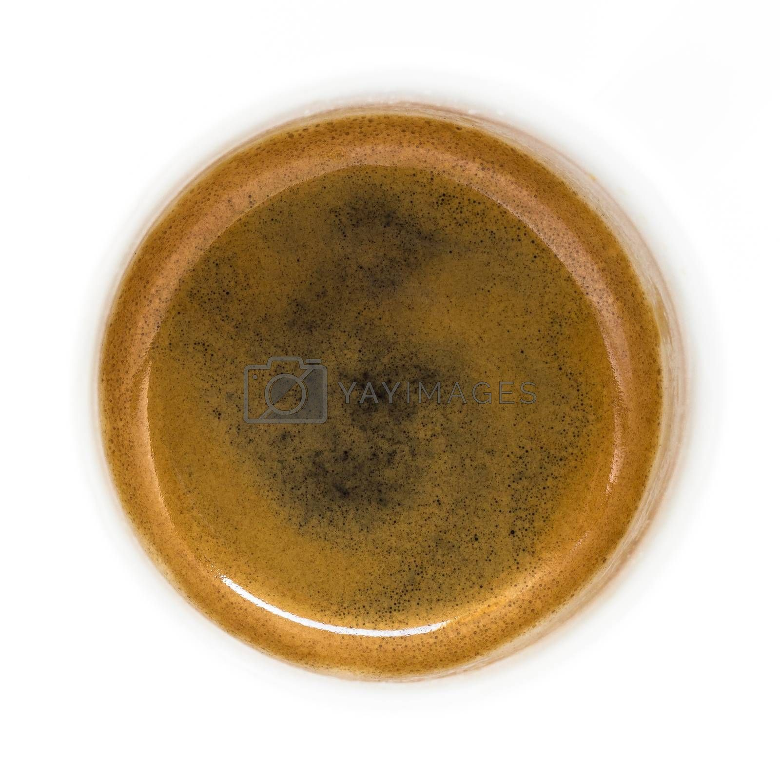 Fresh espresso on white background, view from above.