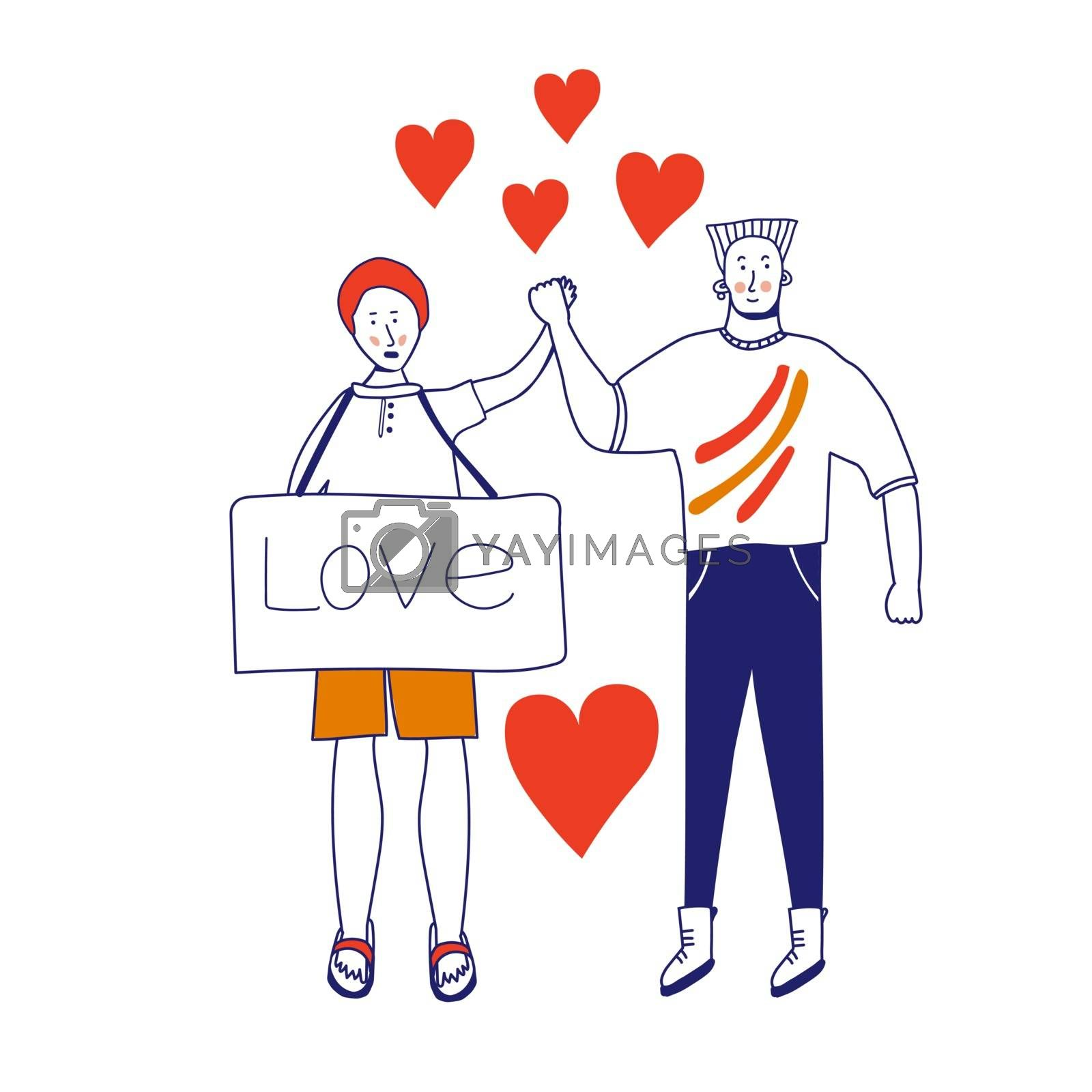Love card of a gay couple. Picket LGBTK. Different sexual orientation The concept of sexual discrimination of protest. Crowds of people are fighting for rights, freedom. Vector illustration, blue line, in cartoon style