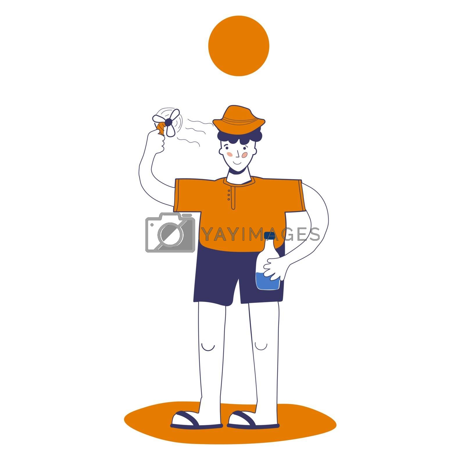 man uses a mini fan and holds water in his hand, protection from heat and heat shock. Vector illustration with blue outline in cartoon hand-drawn style