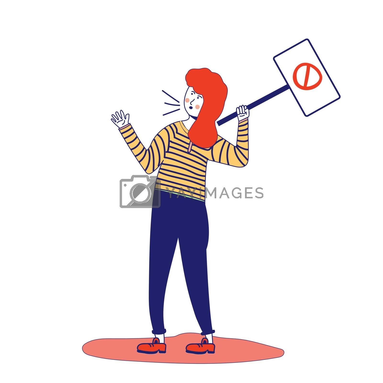 Woman holds a poster, protesting activist, workers strike. Worker holds a blank banner, takes part in the parade. Demo manifesto with blank space for text. A single picket for women's rights. A feminist. Vector illustration, blue line, in cartoon style