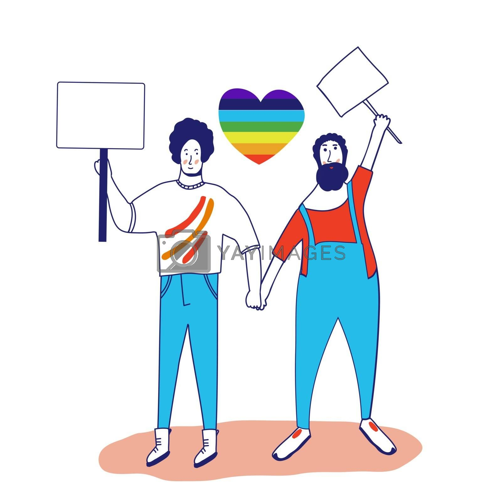 Gay pride. Picket LGBTQ. Different sexual orientation Concept of sexual discrimination protest. Crowd people fight for rights, freedom. Vector illustration in flat style isolated on a white background
