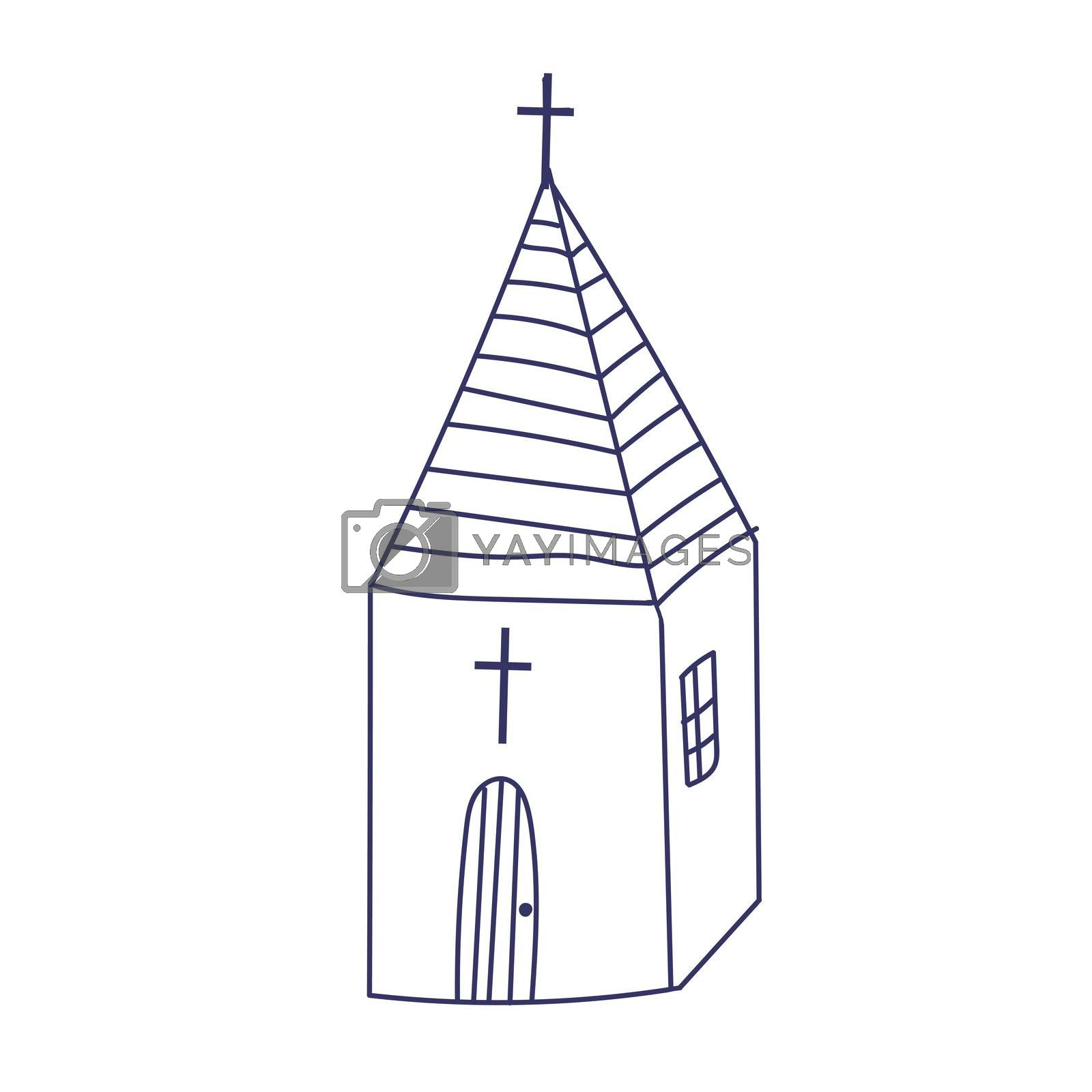 Hand drawn doodle Christian building church icon with Catholic cross illustration sketchy traditional symbol Cute cartoon religious concept element.