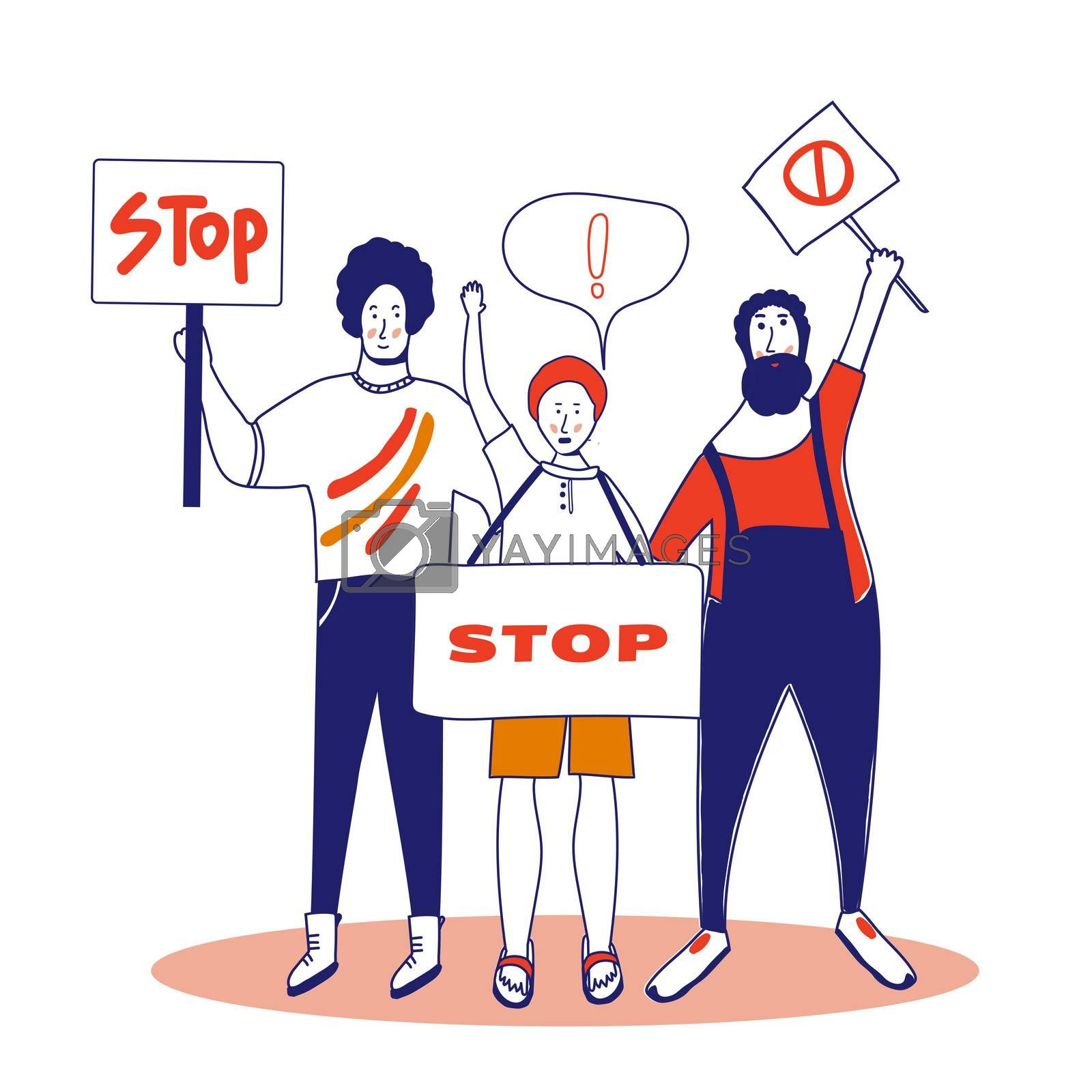 Protest. Three male activists are holding posters. Persons standing with spaces. Group of young men with banners taking part in the parade, picket. Social activism. . illustration, blue line, in cartoon style.