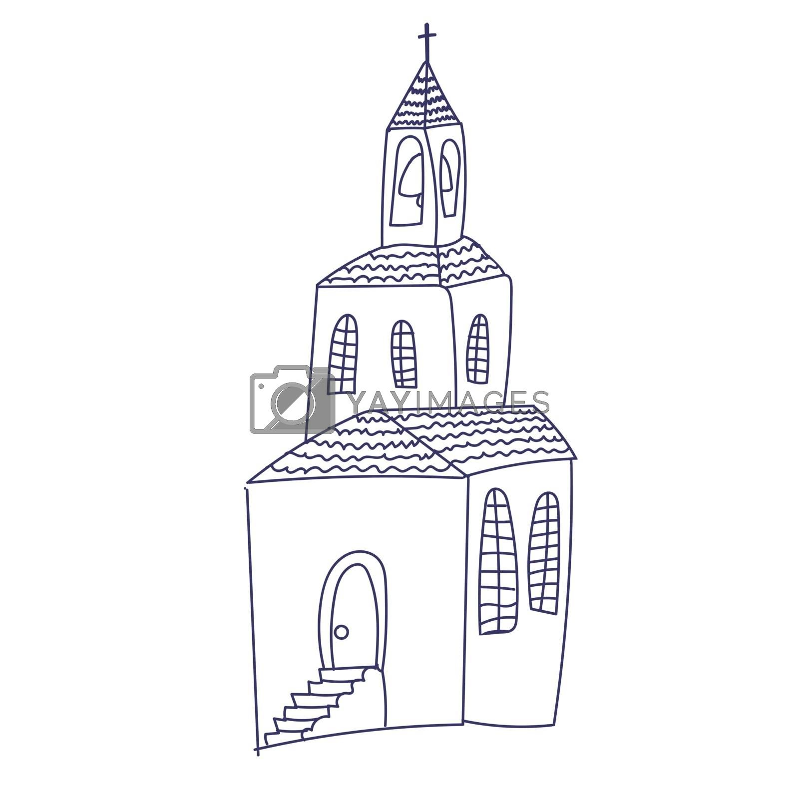 Hand drawn doodle Christian building church icon with Catholic cross Vector illustration sketchy traditional symbol Cute cartoon religious concept element.