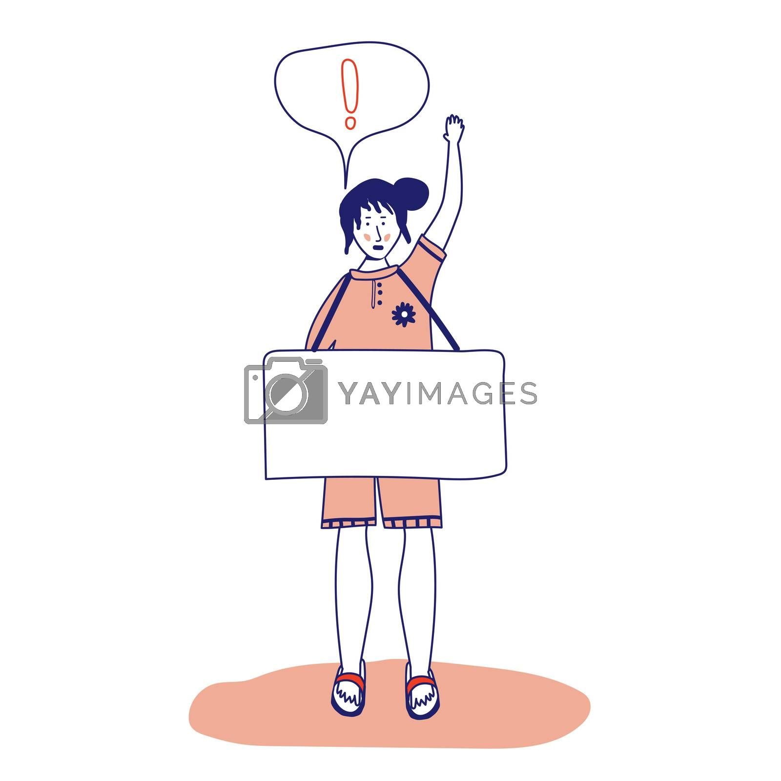 Woman holding a poster, protesting activist, workers strike. Worker holds a blank banner, takes part in the parade. Manifesto with a demo sign with blank space for text. Single picket for women's rights. illustration, line, in cartoon style.