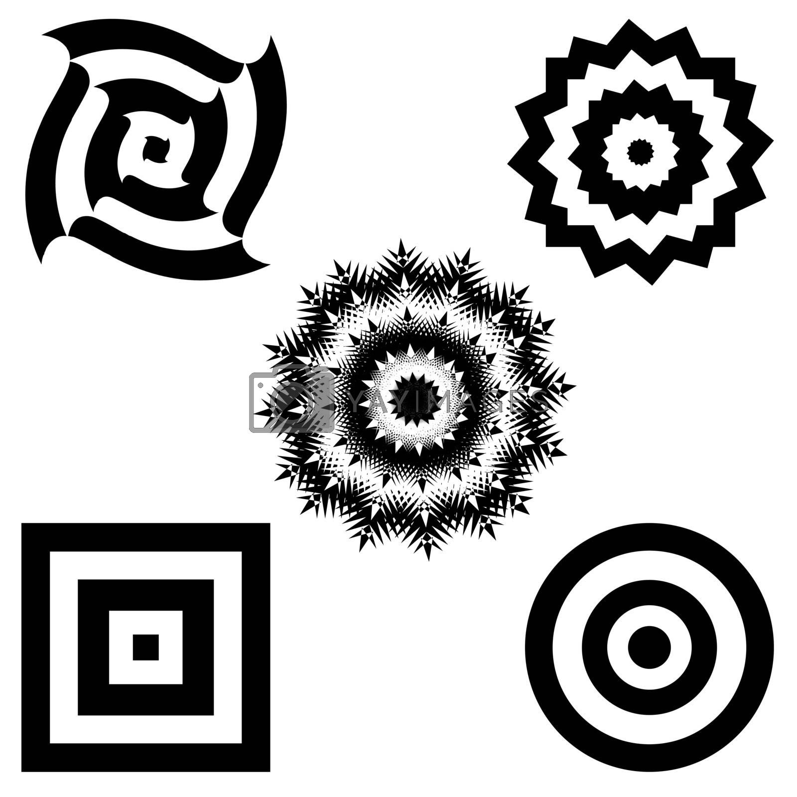 Set of Black and White Hypnotic Background. Vector Illustration.