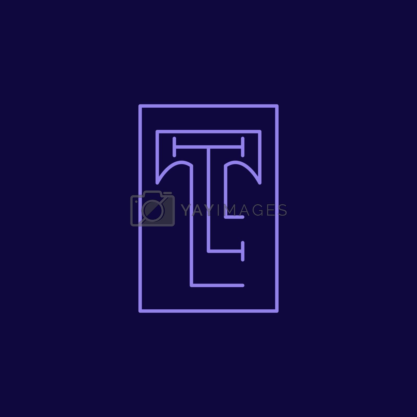 abstract line letter t and l in one combination by arsyadee