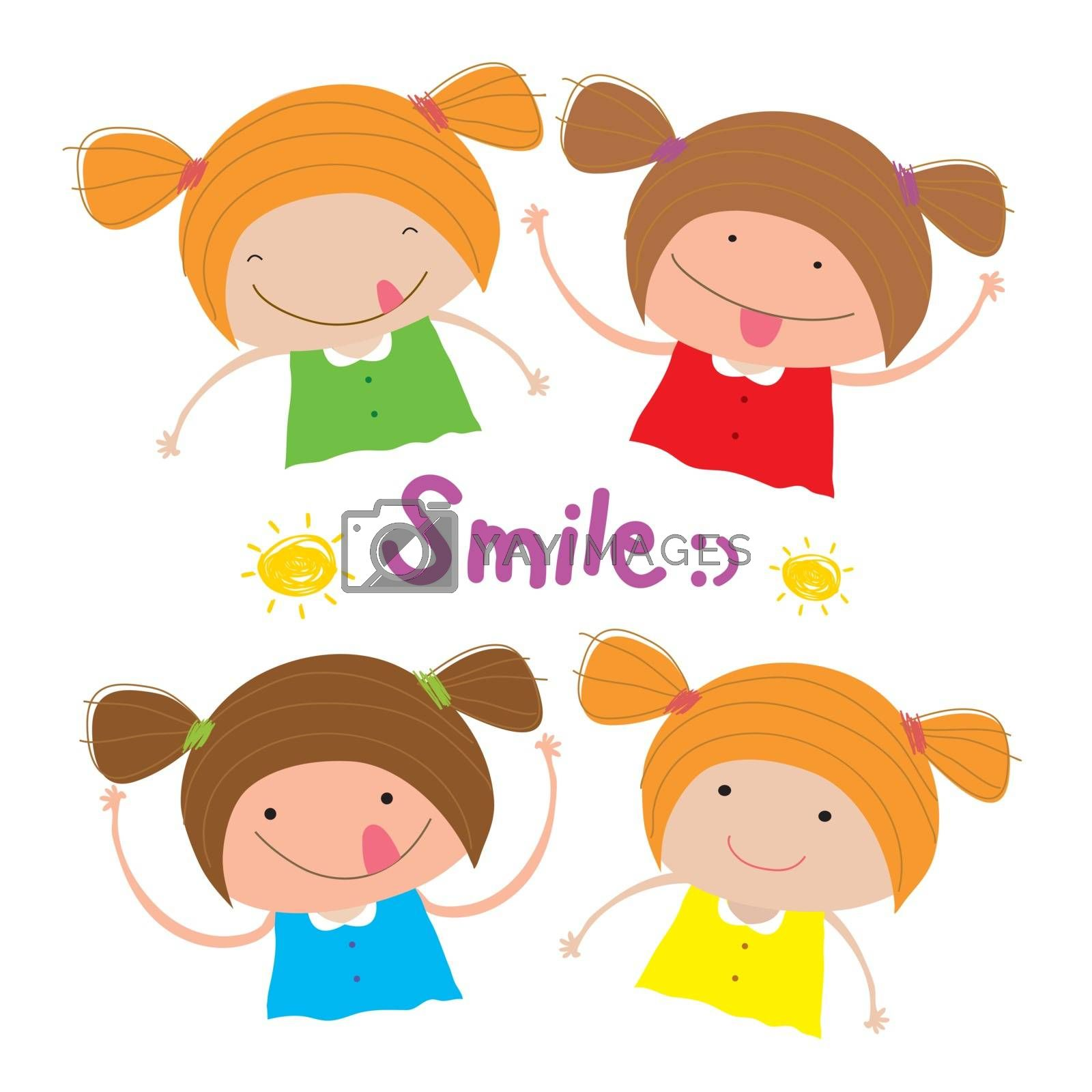 Kids Girl Children Smile Happy Cartoon Character Vector