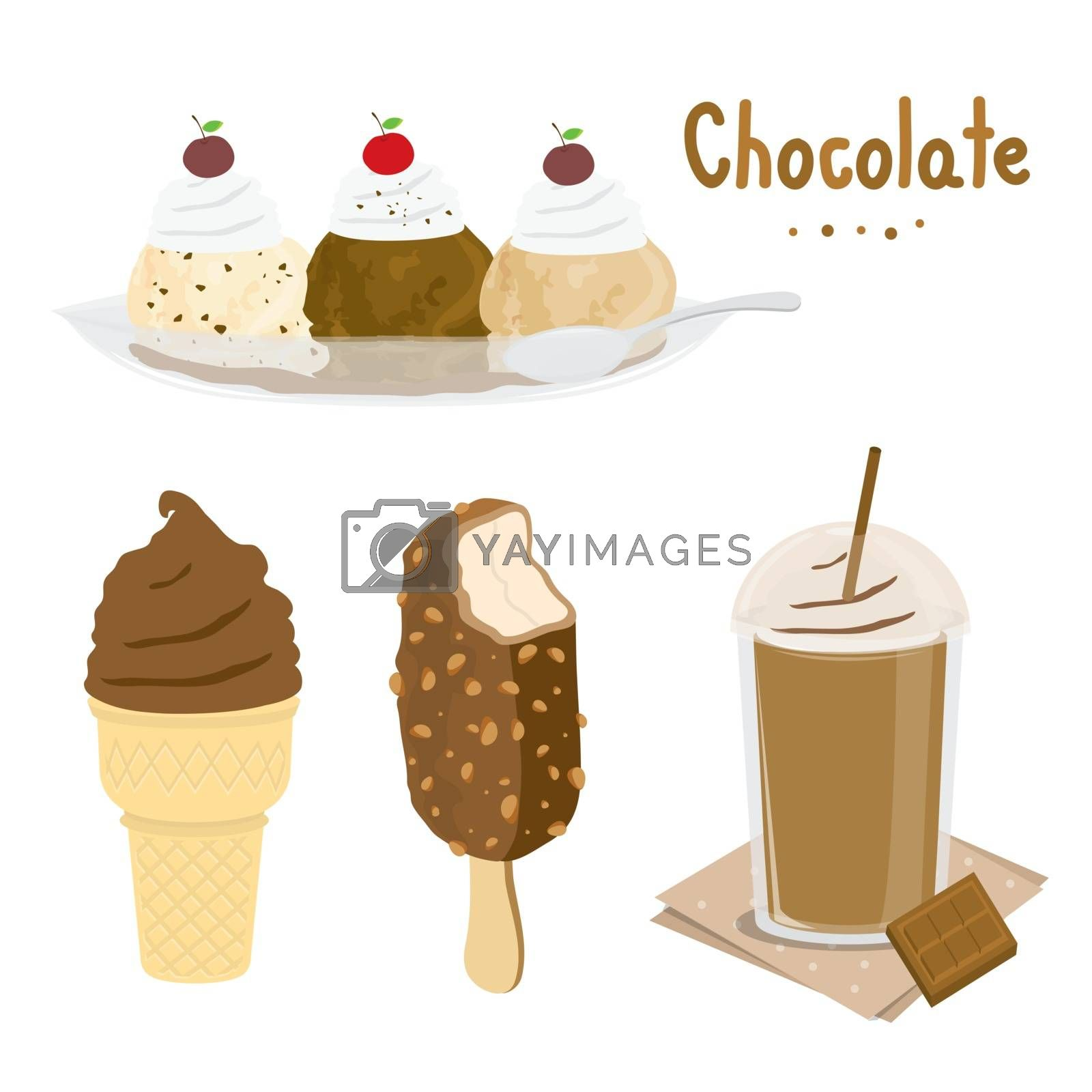 Set of Sweet chocolate and Desserts made of chocolate. Ice cream and bakery. Cartoon Vector.